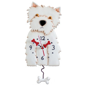 White Westie dog clock with bone pendulum