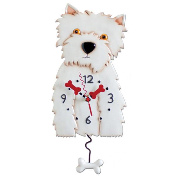 White Westie dog clock with bone pendulum