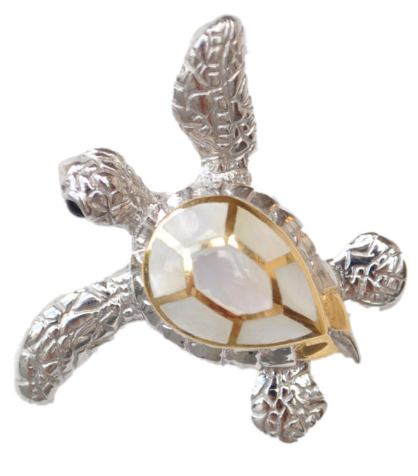 Sterling silver and 18kt gold Swimming Turtle Stud Earrings with mother of pearl by kovel