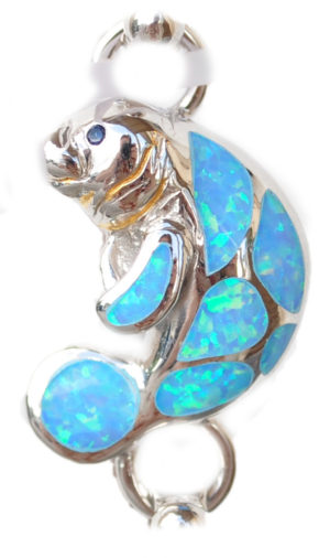 Sterling silver and 18kt gold Blue Manatee Topper with opals by kovel