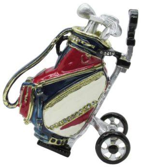 Golf Clubs Jeweled Trinket Box