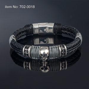 Skull with Fleur-de-lis bands, Sterling Silver Bracelet