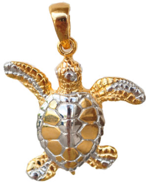 Sterling silver and 18kt gold Turtle Pendant by kovel