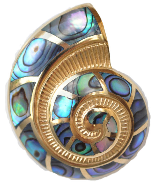 Sterling silver and 18kt gold Nautilus pendant with abalone by kovel