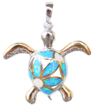 Sterling silver and 18kt gold Flower Turtle Pendantwith opals by kovel