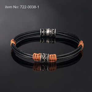 Sterling silver bracelet with motif (8 mm). Genuine leather
