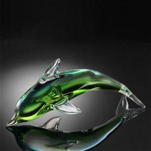 Art Glass Green Dolphin