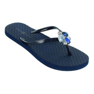 Kelli Navy sandals with blue snap in center