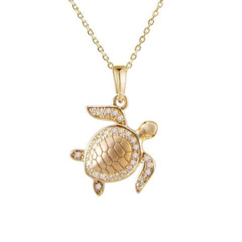 14 karat gold turtle necklace pendant with diamonds