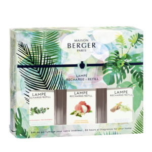 Triopack Immersion scents Fresh Eucalyptus, Lychee Paradise, Pure White Tea. Home fragrance air purifier by lampe berger maison berger