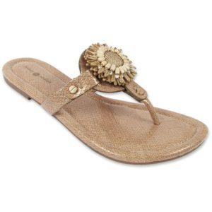 Rosie tan Snakeskin t sandals with flower snap
