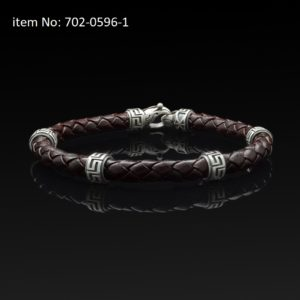 Bracelet with Sterling Silver with greek motifs and braided brown genuine leather