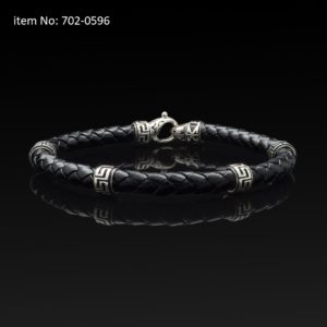 Bracelet with Sterling Silver with greek motifs and braided black genuine leather