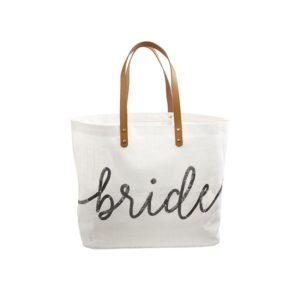 White Bride Sequin Jute Tote Bag