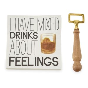 Mud Pie Mixed Drink Bottle Opener Napkin Set