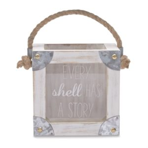 Mud Pie Seashells Wood & Tin Mini Shell Collection Box