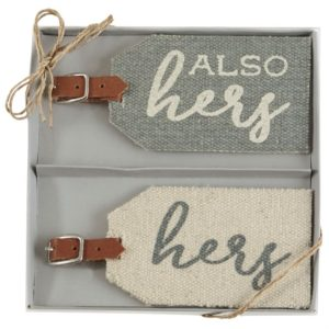 Mud Pie Hers Dhurrie Luggage Tag Set