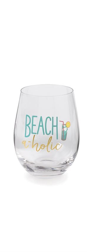 Mud Pie Beach Drinks Stemless Wine Glasses