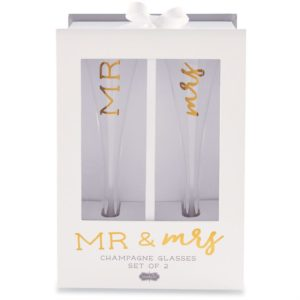 Mud Pie Mr. & Mrs. Champagne Glass Set