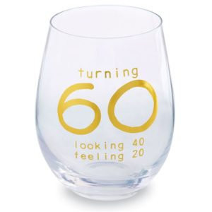 60th Birthday Stemless Wine Glass
