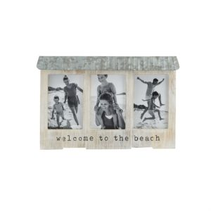 Mud Pie Welcome To The Beach Triple Wood & Tin Picture Frame