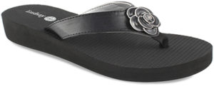 "Allie Black 1 1/2"" wedge flip flop with yoga mat footbed with black flower snap"