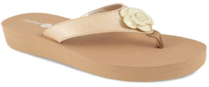 "Allie Tan 1 1/2"" wedge flip flop with yoga mat footbed and cream flower snap"