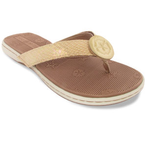 Brooke tan/white sandals with gold strap button in center