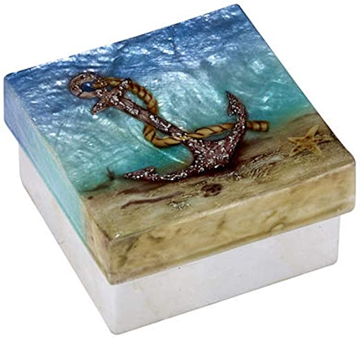KUBLA CRAFTS anchor on beach capiz box