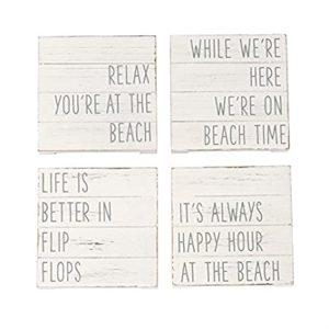Mud Pie Planked Beach Coaster Set
