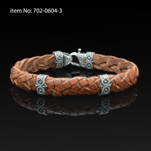 Sterling silver bracelet with Axion motif washers and braided beige leather