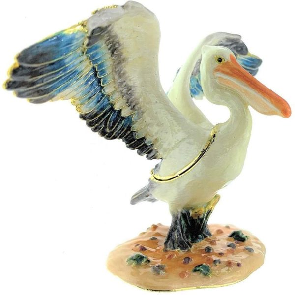 Kubla Craft Stretching Pelican Trinket Box, Accented with Austrian Crystals, 4.25 Inches Long