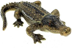 Kubla Crafts Austrian Crystals Enameled Crocodile Jewelry Box (4.25 Inch)