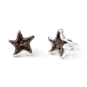 starfish sand jewel earrings with sand handmade in the USA by dune jewelry