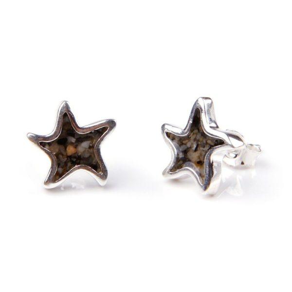 starfish sand jewel earrings with sand handmade in the USA by dune jewelry