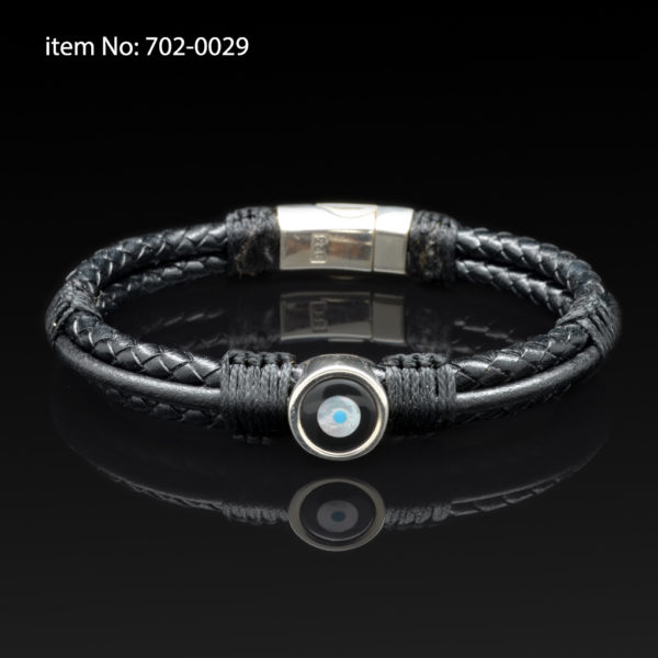 Sterling silver bracelet with lucky eye motif. Genuine braided black leather