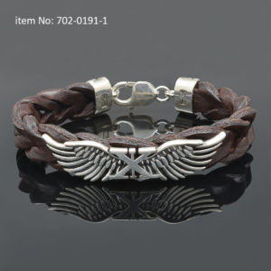 Sterling silver bracelet with Axion wings - Genuine braided brown leather.