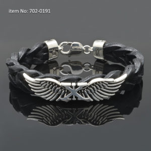 Sterling silver bracelet with Axion wings - Genuine braided black leather.