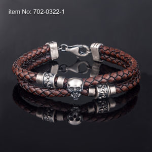 Double wrap sterling silver bracelet with skull motif (12 mm). Genuine leather