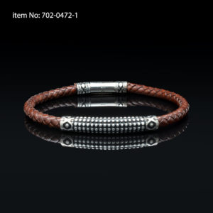 Bracelet with Sterling Silver sea urchin design and brown braided genuine leather