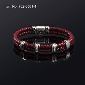 Bracelet with Sterling Silver design in white zircon and red braided genuine leather