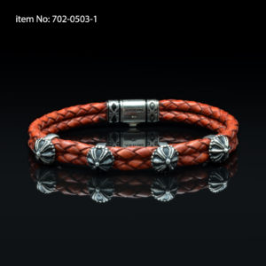 Bracelet with Sterling Silver antique and red braided genuine leather