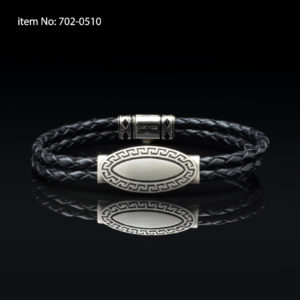 Bracelet with Sterling Silver meander design and black braided genuine leather