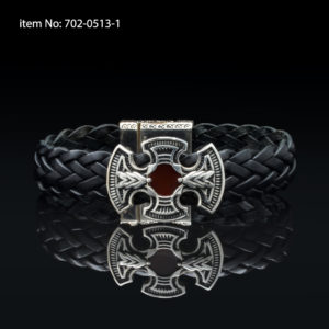 Bracelet with Sterling Silver crossn and black braided genuine leather