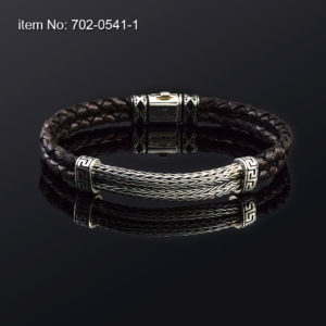 Sterling silver bracelet with double braided chain and double braided genuine brown leather