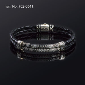 Sterling silver bracelet with double braided chain and double braided genuine black leather
