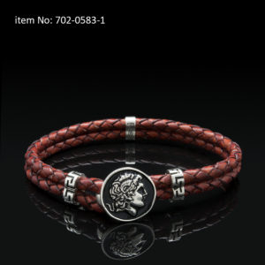 Sterling silver bracelet with Alexander the Great motif and meanders. Genuine braided red leather