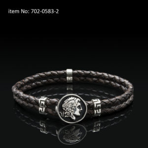 Sterling silver bracelet with Alexander the Great motif and meanders. Genuine braided brown leather