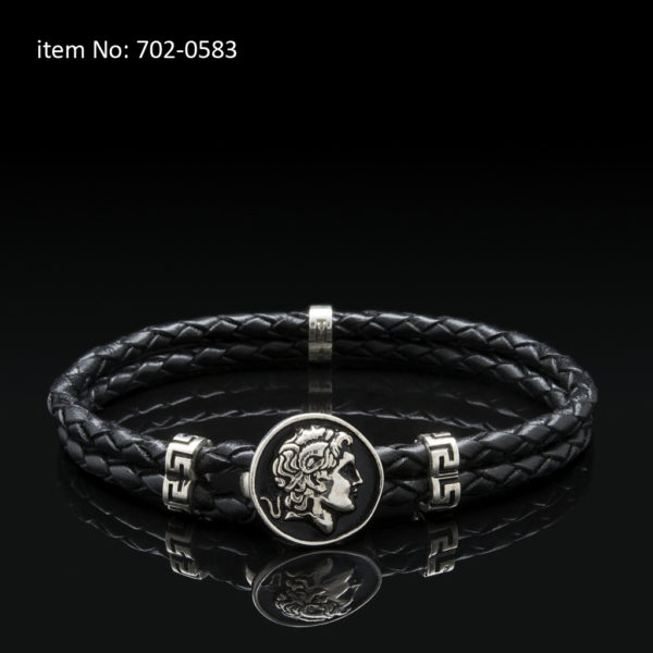 Sterling silver bracelet with Alexander the Great motif and meanders. Genuine braided leather