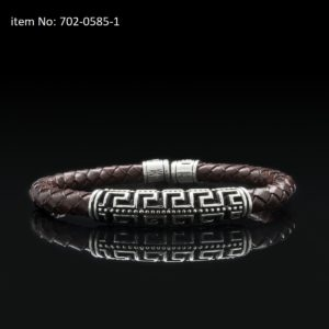 Bracelet with Sterling Silver double Greek key motif and 5mm braided genuine brown leather